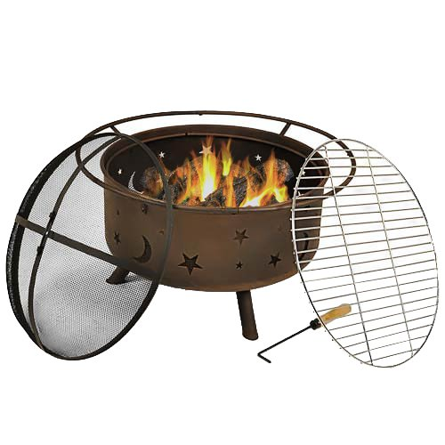 Sunnydaze Cosmic Fire Pit With Cooking Grill 30 Inch Diameter