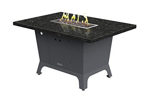 Palisades Rectangular Fire Pit Table - 52x36x15 - Dining Height - Propane - Black Pearl Granite Top - Grey Texture Powdercoat Base
