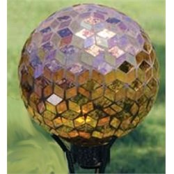 Carson Home Accents 65686 10 in Gazing Ball - Mosaic Auburn Iridescence