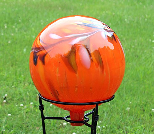 Glass Gazing Ballquotcircus Orange Iridized&quot 12 Inch By Iron Art Glass Designs