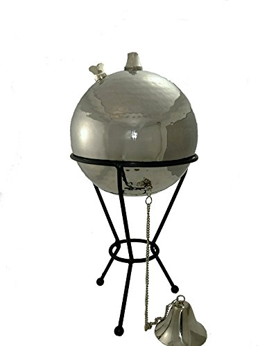 Large Hammered Stainless Steel Globe Tabletop Oil Lamp Stand
