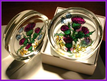 Decorative Hand Painted Stained Glass Paperweight in a Scottish Flowers Design