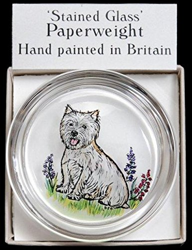 Decorative Hand Painted Stained Glass Paperweight in a West Highland Terrier Design