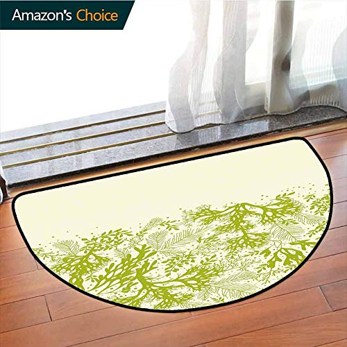 DESPKONMATS Green Semi-Circular Area RugUnderwater Plants Theme with Abstract Seaweed Corals Oceanic Nature Print Printing Carpetfor LivingroomBedroomChildren PlayroomW511 x R355 Inches