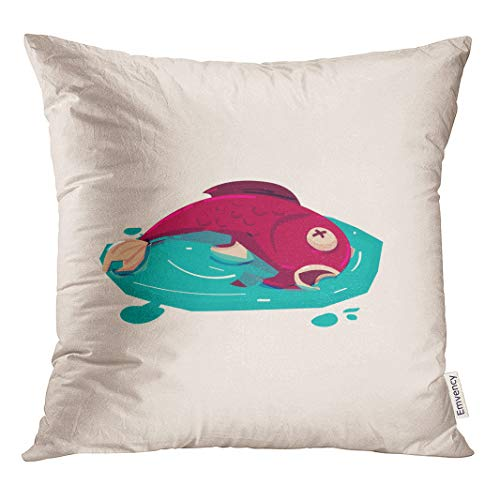 Semtomn Decorative Throw Pillow Cover Square 20x20 Inches Pillowcase Marine Dead Fish in Polluted Water Pollution River Sea Pillow Case Home Decor for Bedroom Couch Sofa