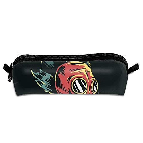 TYTland Fish Wear Gas Mask in Polluted Water Student Durable Pencil Case Zipper Stationery Pouch Bag
