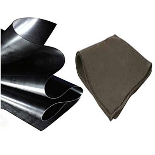 Anjon 35 ft x 40 ft 20 mil HDPE Pond Liner and Underlayment Combo for Koi Ponds and Commercial Lakes