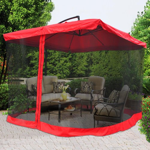 Deluxe 9 Square Feet Red Polyester Outdoor Patio Furniture Pool Side Offset Market Folding Umbrella Canopy 7¾ H Aluminum Pole Tilt Crank Functions w Mesh Netting