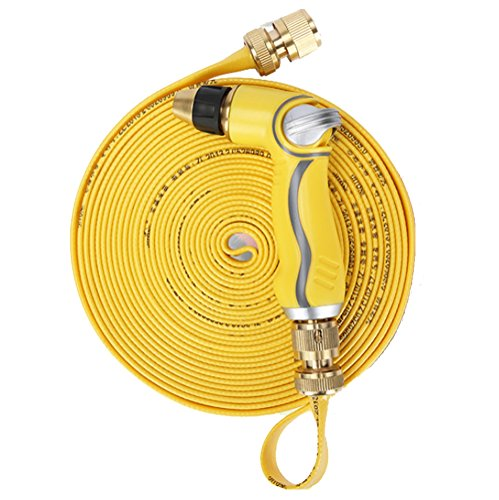 JITONE NEW DESIGN 50FT yellow Garden HoseMini Lightweight and Strongest Expanding TPE Hose PipeSolid Brass ConnectorsHeavy Duty High Pressure Nozzle Sprayer 50 FeetYellow