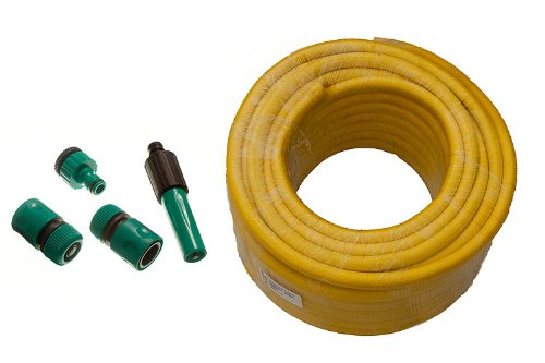Yellow Garden Hose Pipe Braded Pro Anti Kink Length 30M Bore 12Mm  Fittings