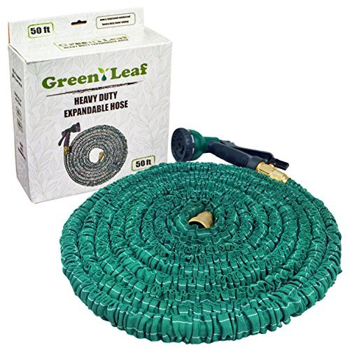 Green Leaf 50 ft Expandable Garden Hose with Heavy Duty Brass Connectors 8 Pattern Spray Nozzle