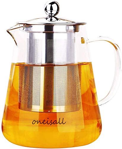 Glass Teapot with Infuser,Heat-resistant glass potTea kettle with Stainless Steel InfuserFlower Tea Coffee Pot Induction hob and Stovetop Safe750ML