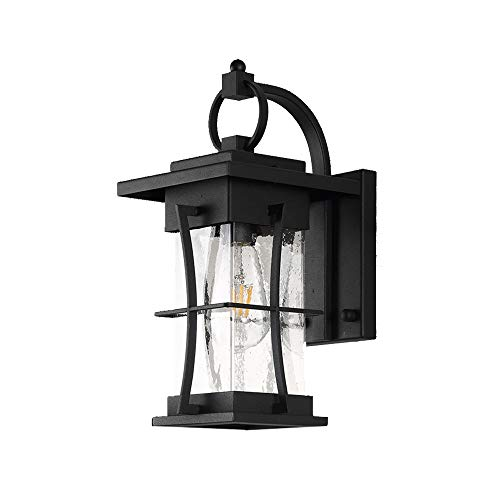 Starry Lighting SL-62659Vintage Outdoor Lantern Wall SconceAntique Black Metal Outdoor Wall Mounted Light with Lantern Glass ShadeOutdoor Wall Lighting Fixture for HallwayCorridorPorch Light