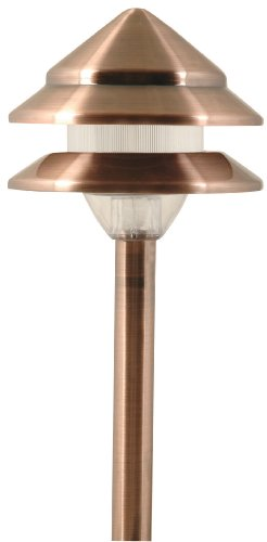 Moonrays 95871 Marion-Style Low Voltage Metal 3-Tier Path Light with Copper Finish