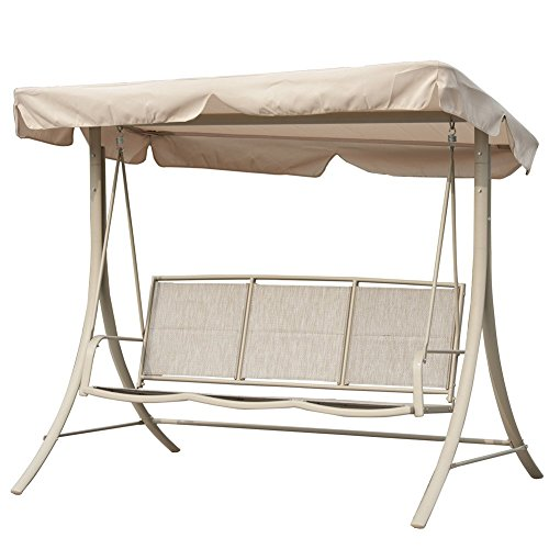 Patiopost Converting Outdoor 3 Person Teslin Seat Porch Swing Adjustable Canopy Hammock  With Steel Frame Patio
