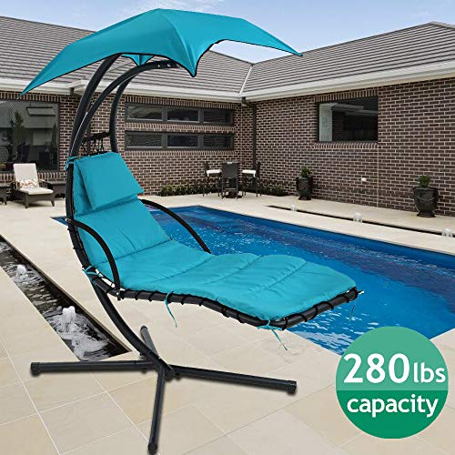 Hammock Chair Hanging Chair Lounge Chairs Outdoor Porch Swing Arc Stand with Canopy Umbrella and Pillow 280 LBS Capacity Heavy Duty Large Air Floating Chaise Chair for Patio Backyard Deck - Blue