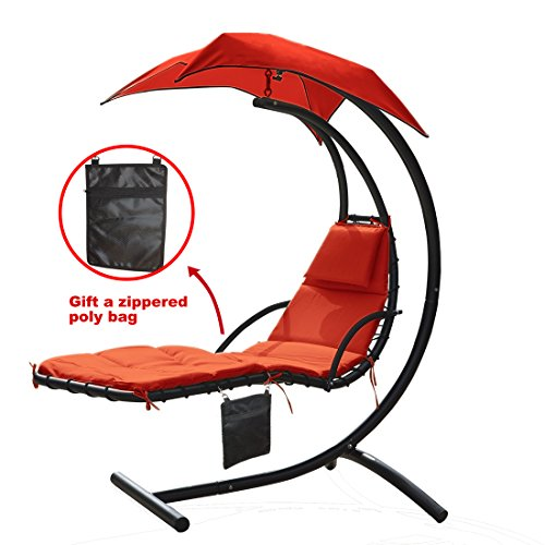 300lbs Weight Capacity Hanging Chaise Lounger Chair With Umbrella Garden Air Porch Arc Stand Floating Swing Hammock