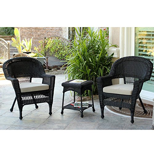 3-Piece Resin Wicker Patio Chair End Table Set by Jeco