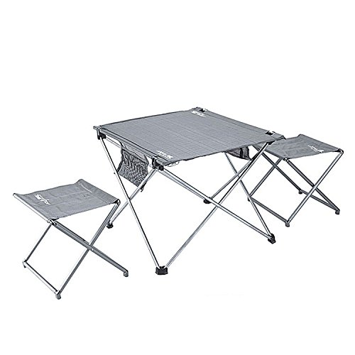 Lightweight Folding Table and Stools in a Carrying Bag-Pretty Handy- Aluminum Portable Table Stools Foldable Outdoor Table Stools for Camping Beach Picnic Patio Fishing Indoo