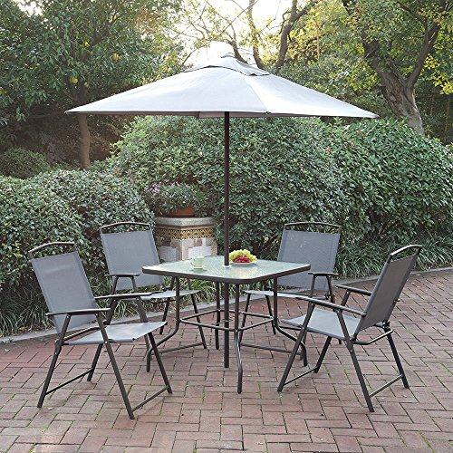 Patio Furniture Dining Set Cream Umbrella Foldable Chairs Glass Table