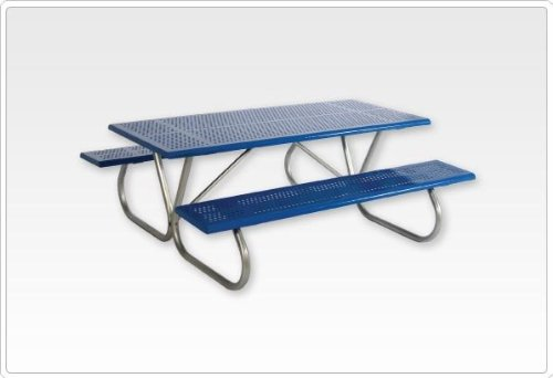 Sports Play 602-634 Standard Rectangular Picnic Table 2 38-8 Beveled Edge Perforated Steel