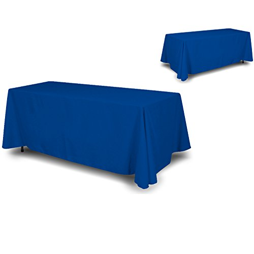 wall26 - 4 Sided Full Back Blue Tablecloth  Table Cover  Throw  Cloth Size 90 x 132 suited for 6ft table