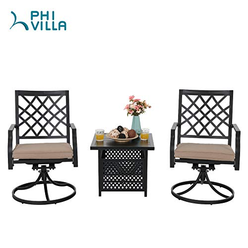 PHI VILLA Swivel Chair Set of 2 Patio Outdoor Metal Furniture Set 3 Pieces 1 Outdoor Umbrella Side Square Table with 2 Swivel Chair for Garden Yard