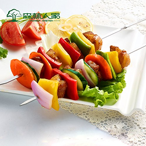 Barbecue skewers Barbecue Outdoor Stainless Steel Barbecue Lamb Tank Flat Labels Needle Accessories Household Tools 12Pcs