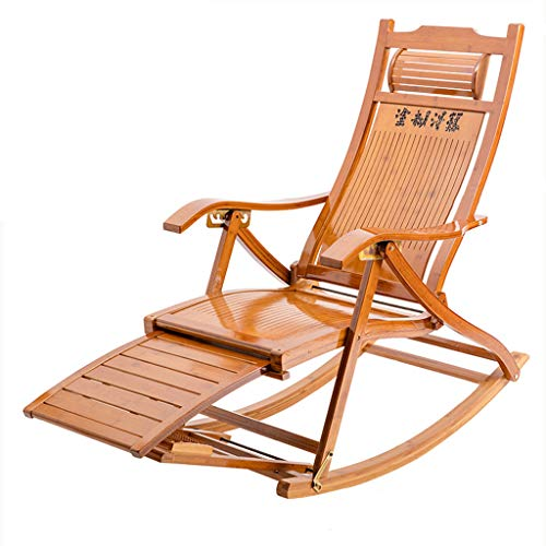 Folding Rocking Chair Lounge Chair Garden Beach Outdoor Recliner Lunch Break Chair Living Room Bedroom Balcony Recliner with Armrests Backrest Chair
