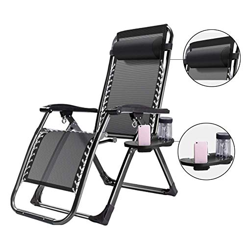 Sun Lounger Oversized Patio Chairs Reclining for Heavy Duty People Outdoor Garden Beach Lawn Chair Camping Portable Support 200kg Color  Black