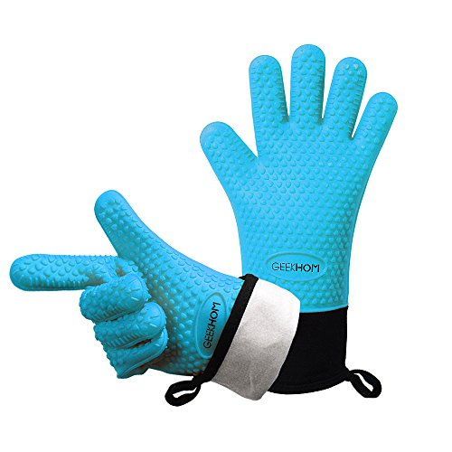 Geekhom Grilling Gloves Heat Resistant Gloves Bbq Kitchen Silicone Oven Mitts Long Waterproof Non-slip Potholder