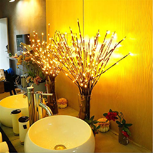 Winnes Twig LED Light Artificial Tree Willow Branches Lamp Auto High 2 Pack 40 Waterproof LED Beads Battery Powered for Home Festival Party Indoor Outdoors DecorationWarm White