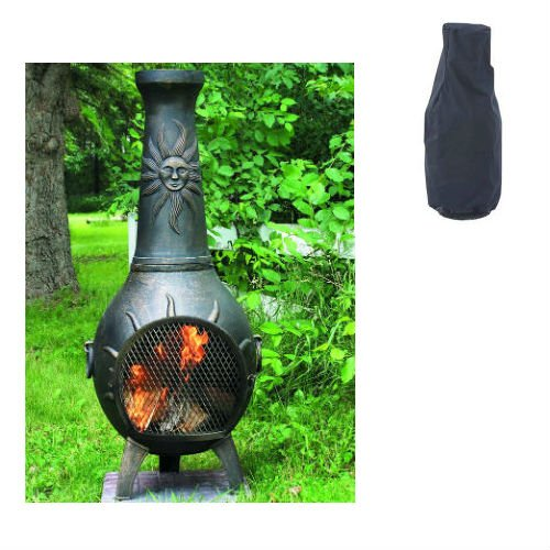 Blue Rooster Sun Ray Style Wood Burning Outdoor Metal Chiminea Fireplace Gold Accent Color With Small Black Cover
