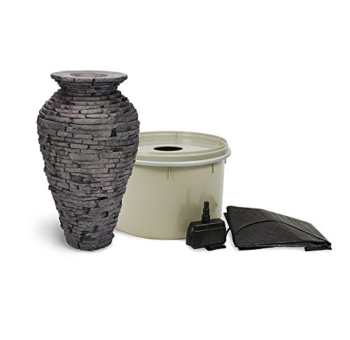 Aquascape 58064 Small Stacked Slate Urn Fountain Kit With Pump And Basin 32 Inches Tall