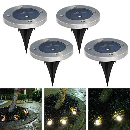 PINSV 4PCS Solar Ground Light Solar Power Garden Light LED Outdoor Walkway Path Underground Yard Pathway Patio Driveway Lawn Garden Step Light Ground Lamp Solar Lights Warm White