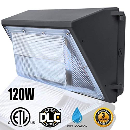 LED Wall Pack Lights 120W(5000K Daylight Wall PackCommercial And Industrial Outdoor Wall Pack Lighting 500~600W HPSHID Bulb Replacement Waterproof