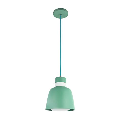 MINGZE Modern Metal Pendant Light with Frosted Glass Shade Green Finish Interior Light Pendants Hanging Ceiling Lamp for Dining Room Study Living Room Bedroom Cafe Shop Renewed