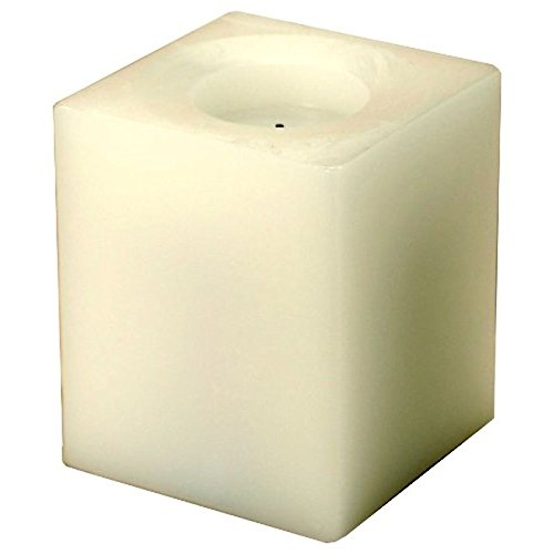 White 4 Square Battery Powered Electric Candle