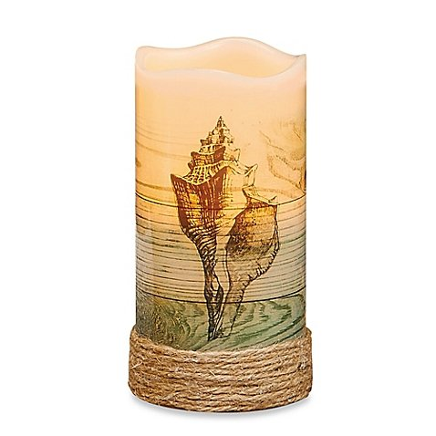Conch Shell Flameless Pillar Candle with LED and Timer