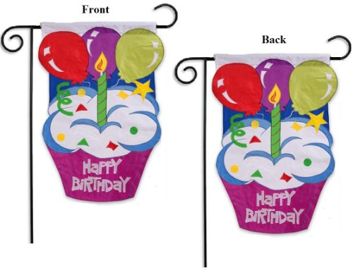 Happy Birthday Garden Flag 2 Sided Cupcake With Candle And Balloons 125x18