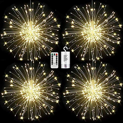 Haliluya 4 Pack 120 LED Copper Wire Firework LightsBattery Operated Starburst Light with Remote8 Modes String Fairy Lights WaterproofDecorative Hanging Lights for Christmas Home Indoor Outdoor