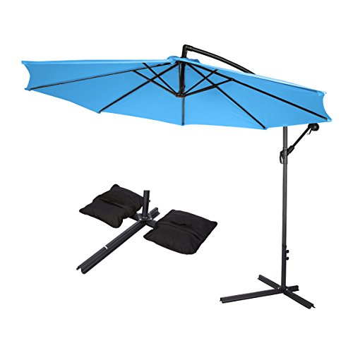 10 Deluxe Polyester Offset Patio Umbrella with Set of 2 Saddlebag Style Sand Weight Bags by Trademark Innovations Teal