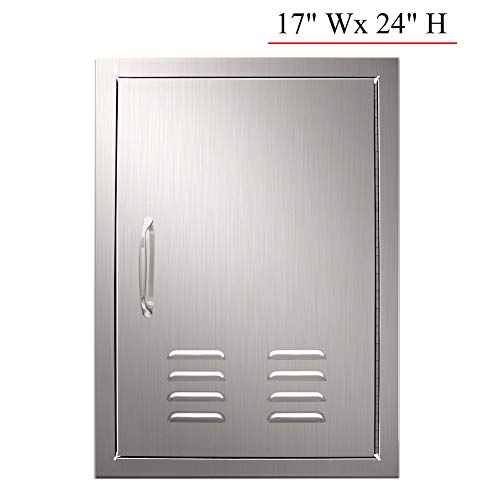 YXHARD Outdoor Kitchen Door 304 Brushed Stainless Steel 17 x 24 Inches Single BBQ Access Door with Vents for Outdoor Kitchen Grilling Station or Commercial BBQ Island