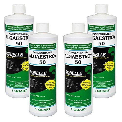 Robelle 2150-04 Concentrated Algaestroy 50 Algaecide For Swimming Pools 4 Pack 1 Quart