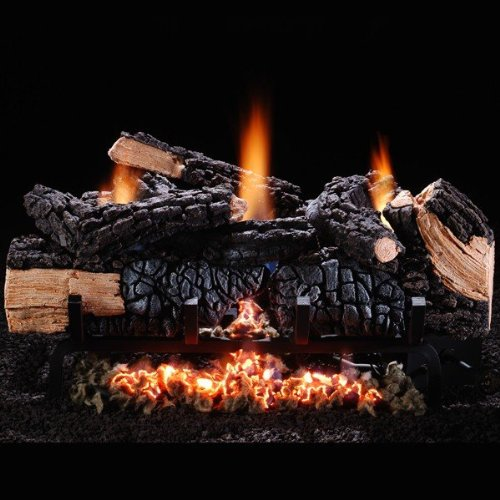 Chimney 48560 Cumberland Char Vent-Free Log Set - Natural Gas With Manual Valve - 24 Inches