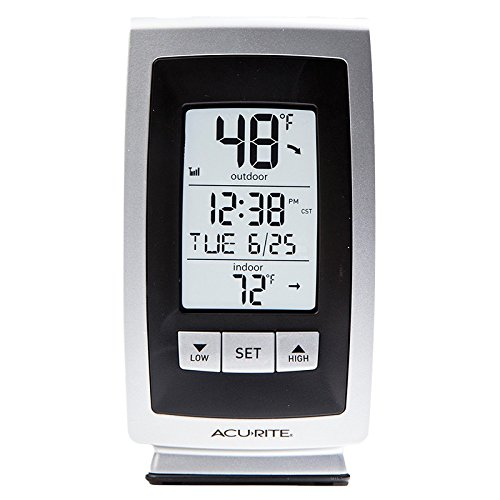 Acurite Digital Indooroutdoor Thermometer With Intelli-time Clock silvergray