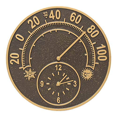 Whitehall Products 1288 Solstice Thermometer Clock French Bronze